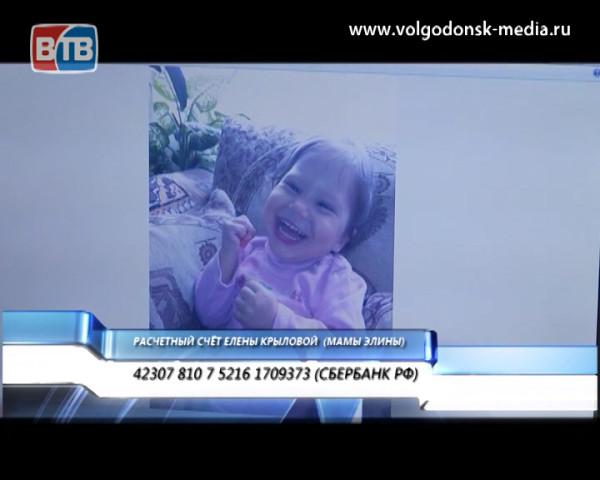 Двухлетней Элине Крыловой все еще требуется Ваша помощь!