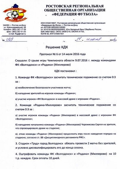 ФК «Волгодонск» засчитали техническое поражение