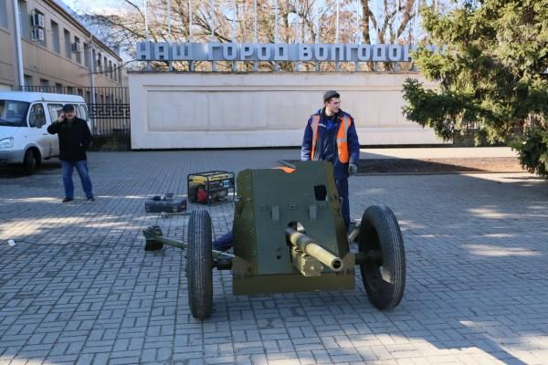 У входа в парк Победы установили 45-тимиллиметровую противотанковую пушку образца 1937 года