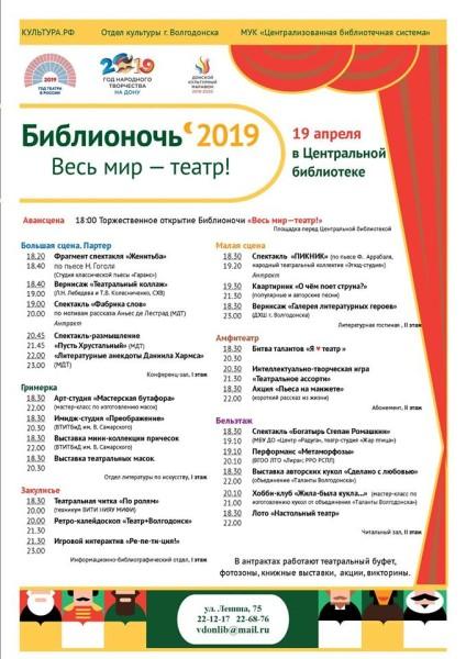 Центральная библиотека приглашает на Библионочь-2019 «Весь мир – театр!»