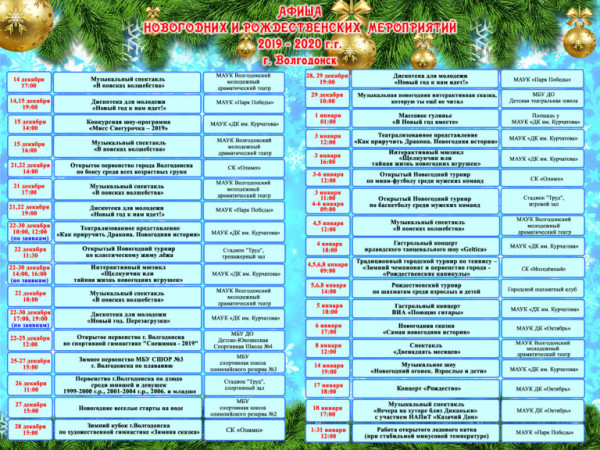 Афиша новогодних и рождественских мероприятий 2019-2020 в Волгодонске
