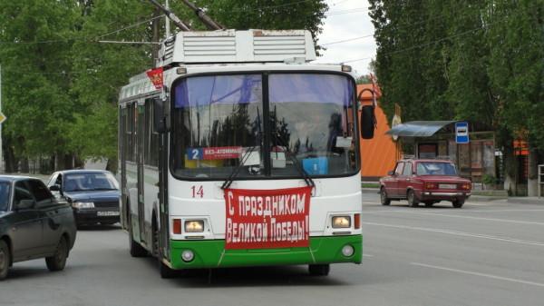 В День Победы на маршрутах ГПТ пассажиров поздравляли с праздником