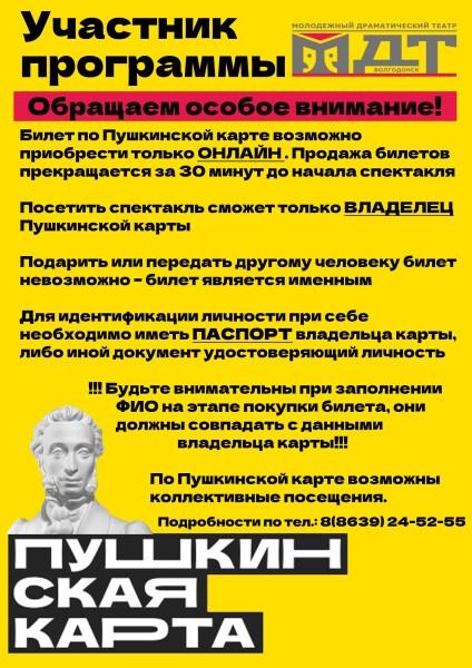 Волгодонский молодежный драматический театр принимает участие в проекте «Пушкинская карта»!